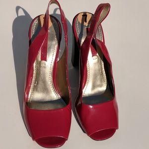 Ninewest Patent Red Slingback Black Block Heel